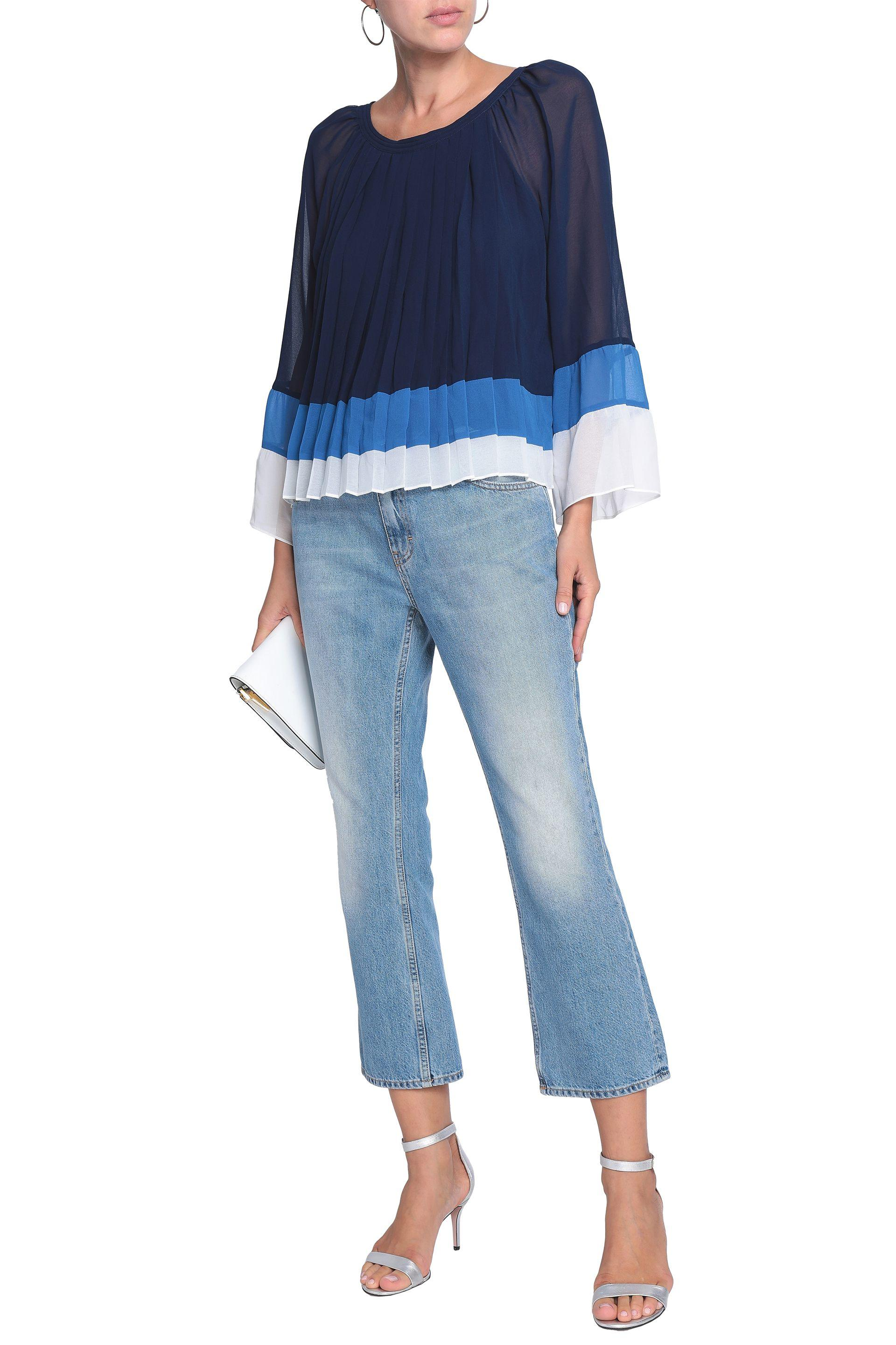 d4e8120cc3 Joie - Blue Woman Anahira Pleated Color-block Georgette Blouse Navy - Lyst.  View fullscreen