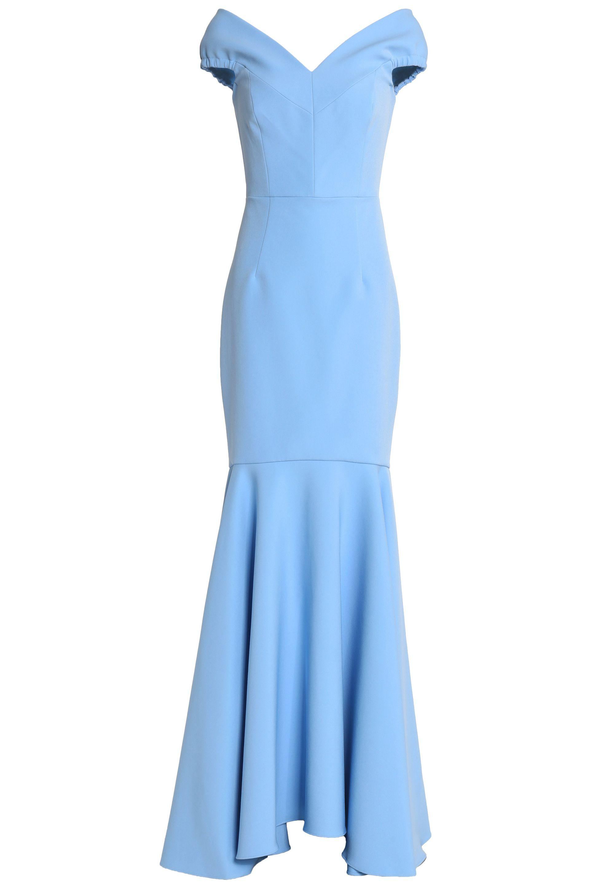 Milly Woman Off-the-shoulder Crepe Gown Blue Size 6 Milly uruoz