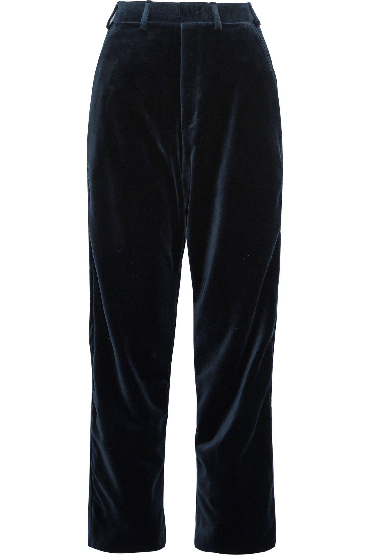 Vetements. Women's Blue + Brioni Cotton And Silk-blend Velvet Straight-leg  Pants