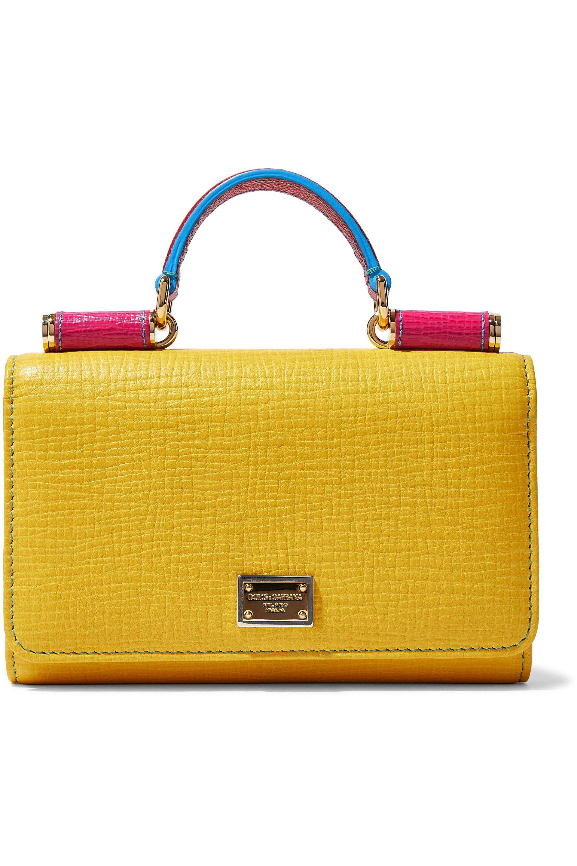 aa2257cb0ac5 Lyst - Dolce   Gabbana Von Color-block Textured-leather Shoulder Bag ...