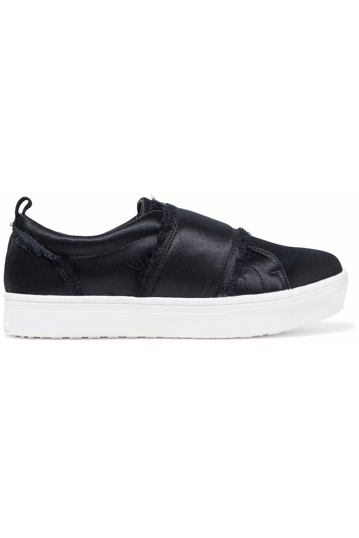 89ab01b3b Lyst - Sam Edelman Woman Levine Frayed Satin Slip-on Sneakers Black ...