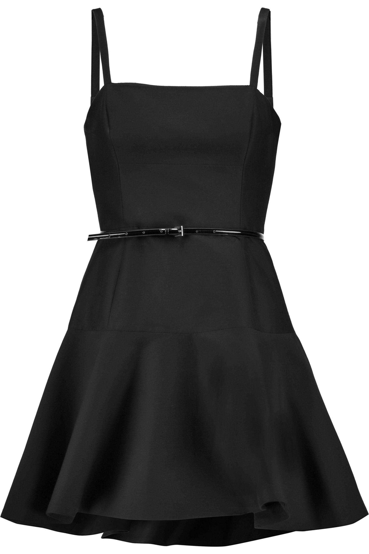 Halston Heritage Woman Belted Fluted Cotton And Silk-blend Mini Dress Black Size 10 Halston Heritage ZuXVD