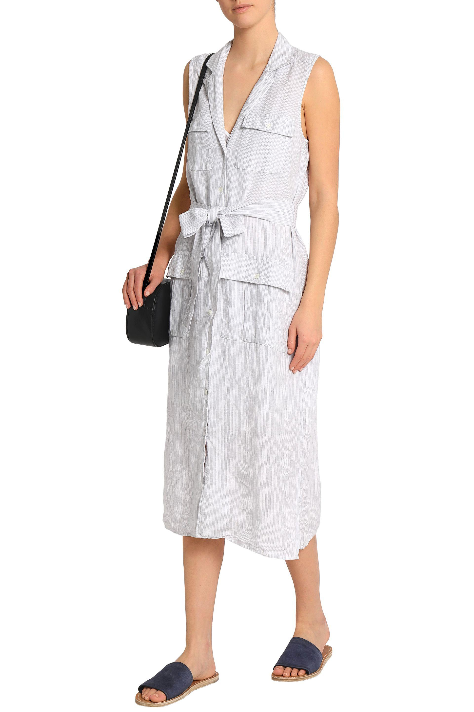 0b7e33fa397 James Perse - Woman Striped Linen Shirt Dress Off-white - Lyst. View  fullscreen