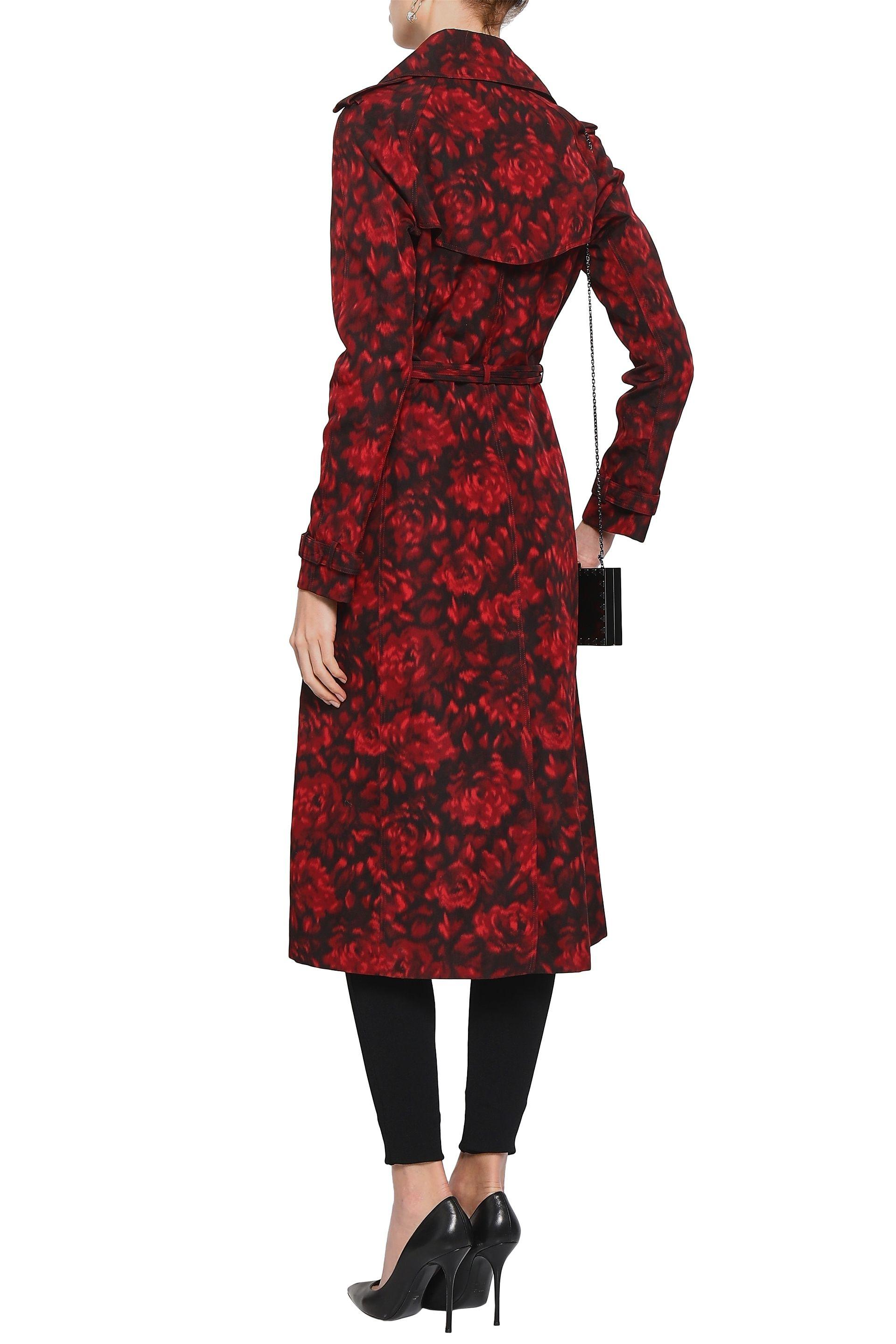 b5f2079624c Valentino - Red Woman Belted Printed Cotton And Silk-blend Trench Coat  Crimson - Lyst. View fullscreen