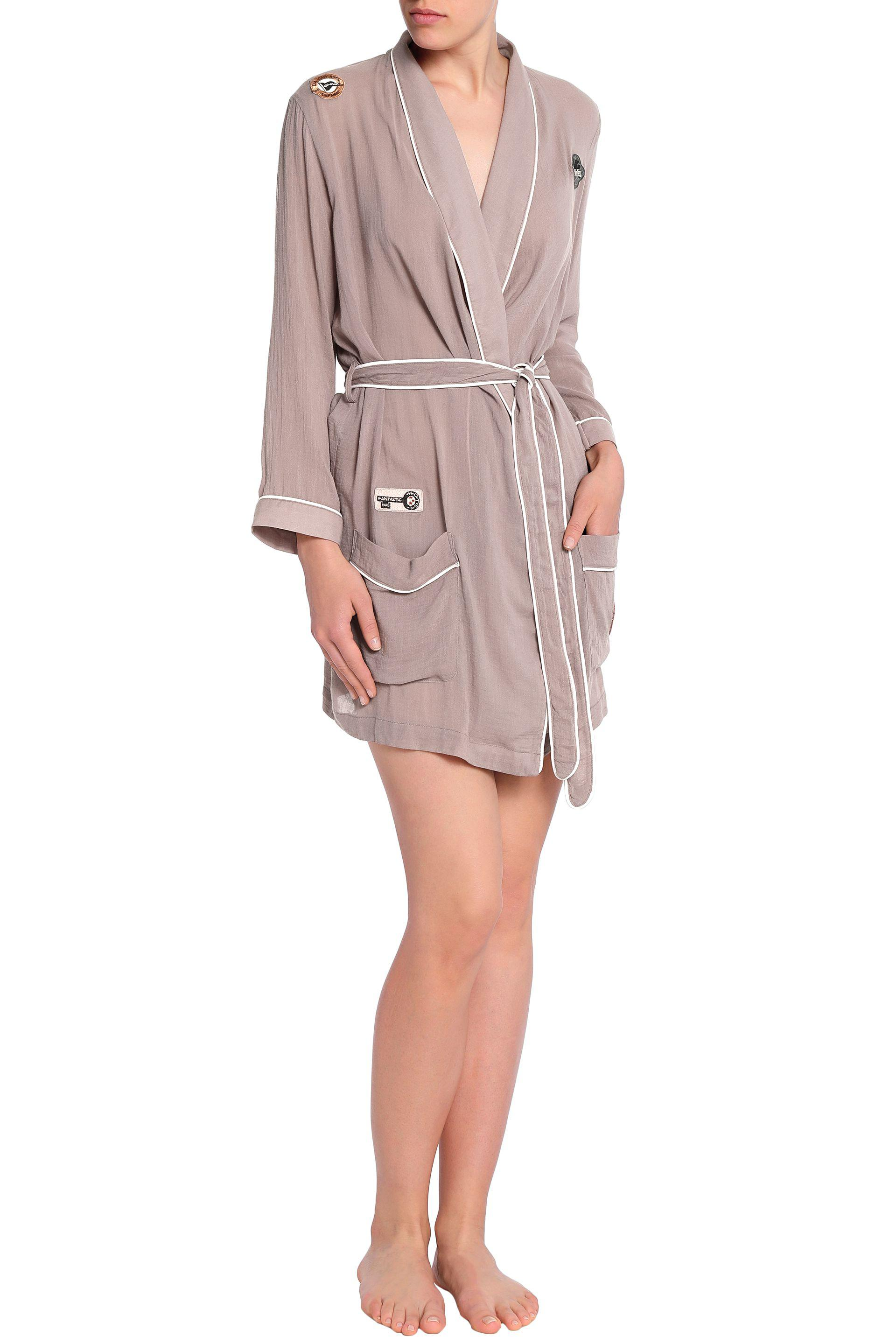 Love Stories Woman Appliquéd Cotton-voile Robe Taupe Size XL Love Stories With Credit Card CQsRwT62Rk