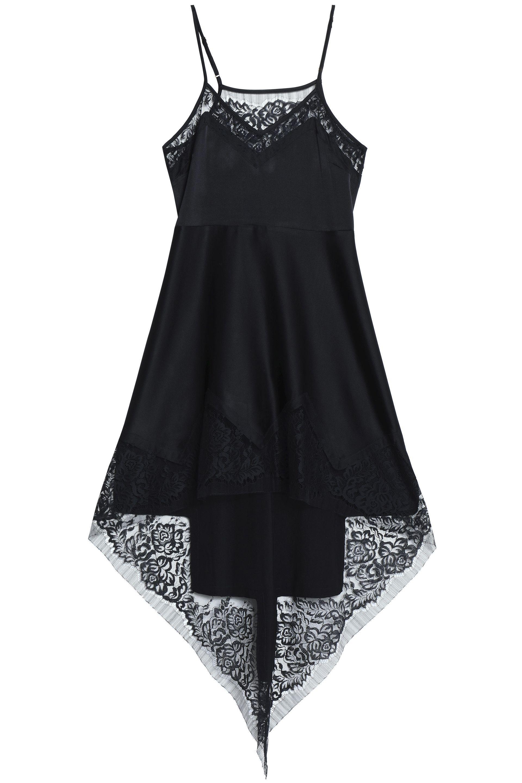 Discount Store New Sale Online Michelle Mason Woman Asymmetric Lace-trimmed Silk-satin Mini Dress Black Size 4 Michelle Mason cDidPBq9
