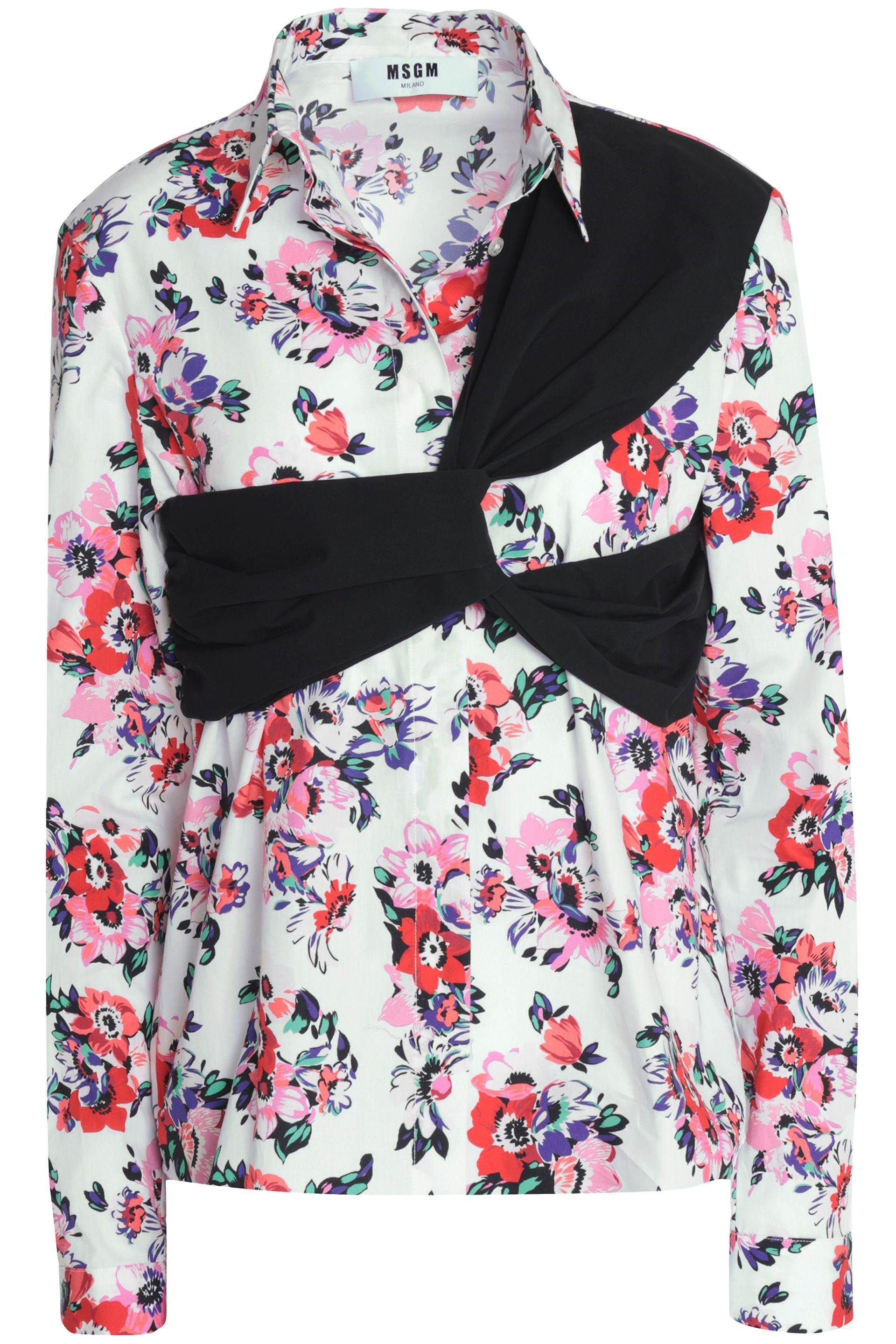 White blouse with floral print Msgm