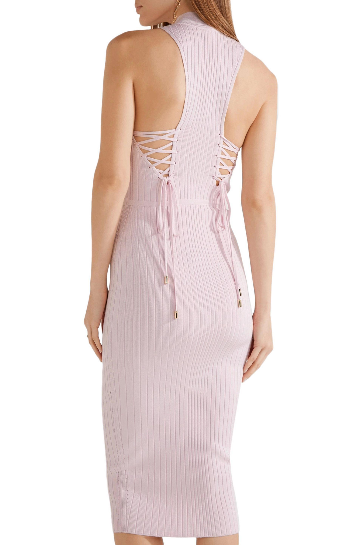 Cushnie Et Ochs Woman Lace-up Ribbed-knit Dress Baby Pink Size M Cushnie et Ochs rjfJ4