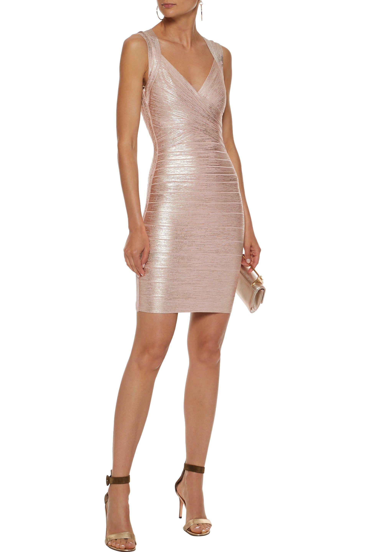 b51801b1192 Hervé Léger Hervé Léger Woman Iman Cutout Metallic Bandage Dress ...