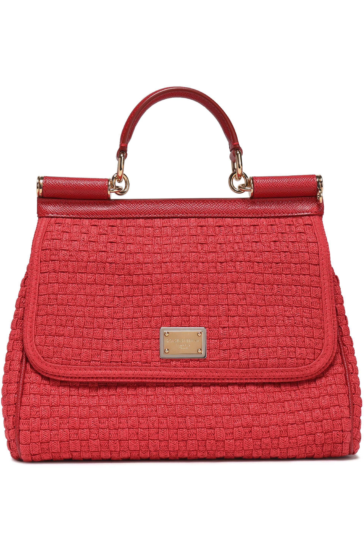 768ec9134465 Dolce   Gabbana Sicily Leather-trimmed Woven Shoulder Bag in Red - Lyst