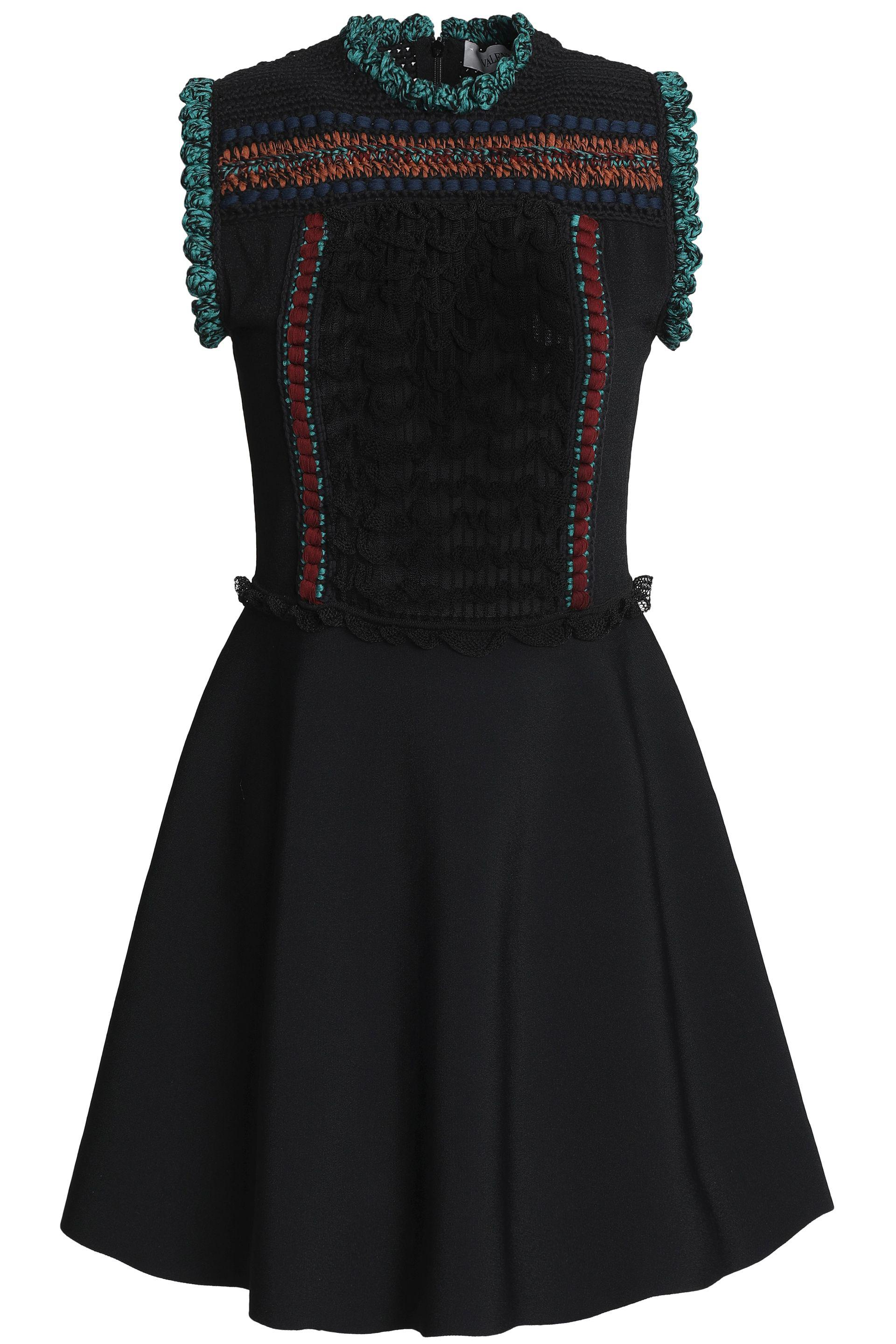 Huge Surprise Valentino Woman Embroidered Crochet-knit And Ponte Mini Dress Black Size L Valentino Cheap Clearance Cheap Sale Wholesale Price Buy Cheap Prices IMsLImAXW