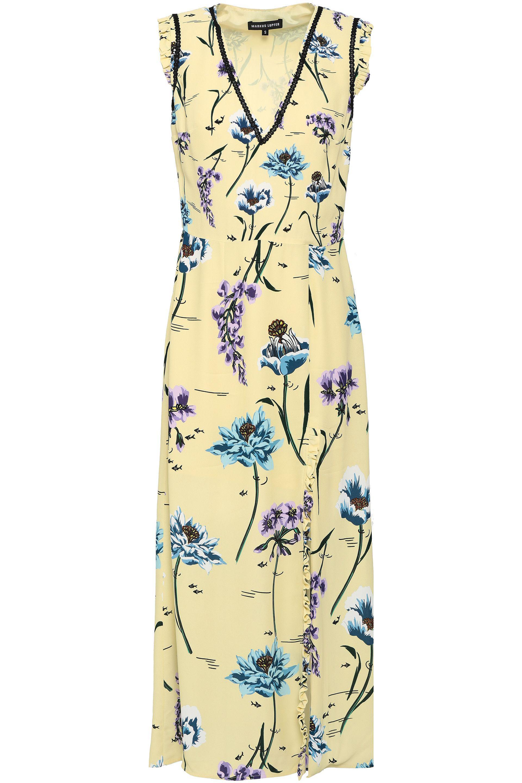 004099393c3b Markus Lupfer Saskia Floral-print Silk-crepe Midi Dress in Yellow - Lyst