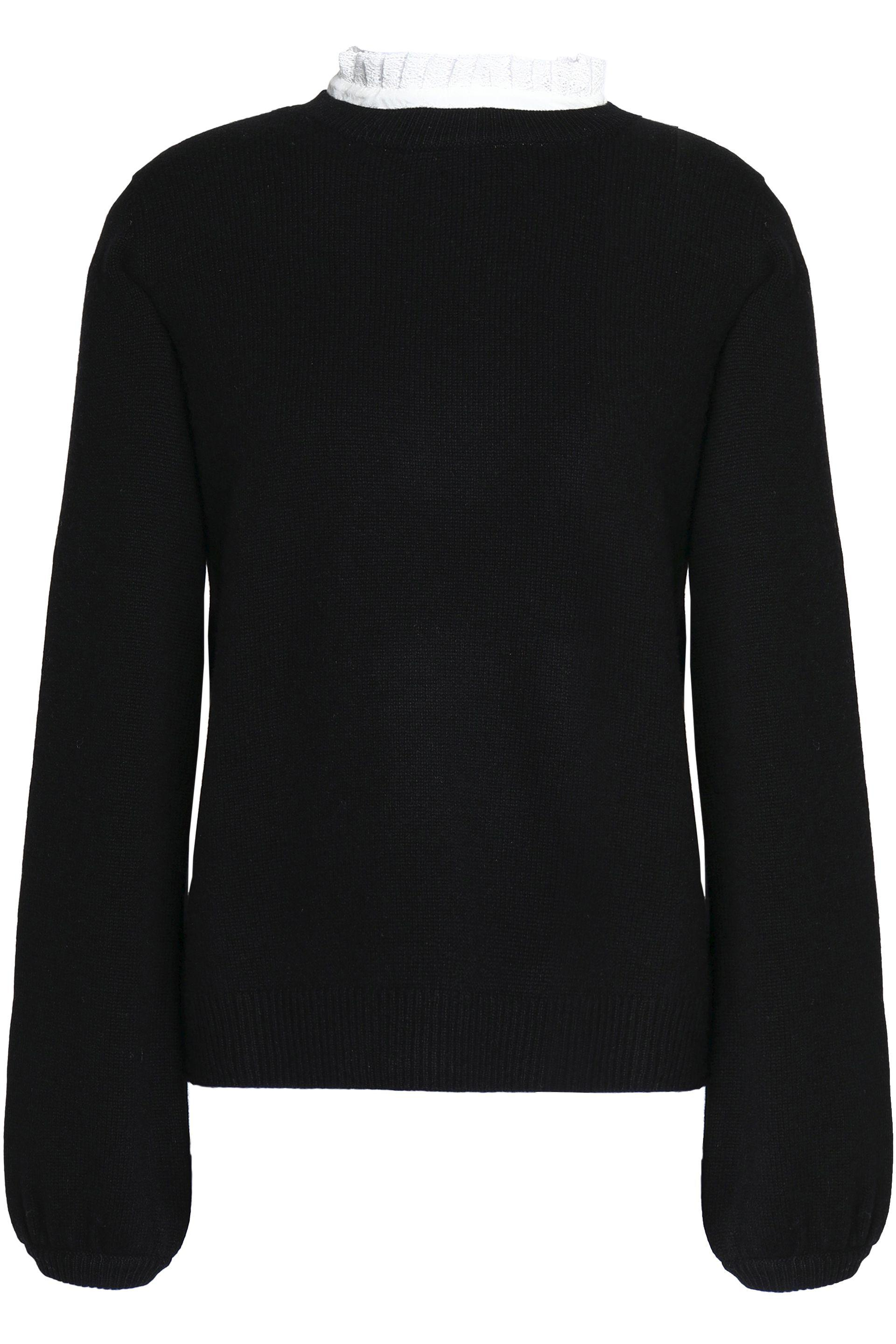 Joie Woman Affie Ruffle-trimmed Wool And Cashmere-blend Sweater Black Size XXS Joie wKqX6