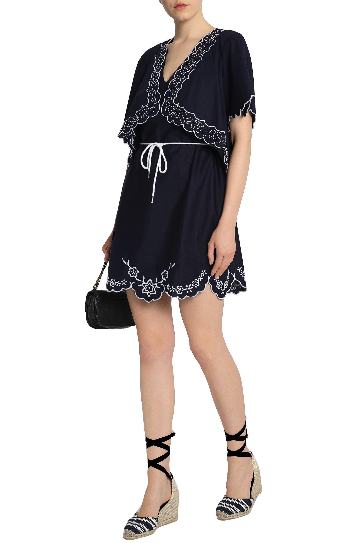 8499e2d8747 ... Chloé Woman Scalloped Embroidered Cotton-poplin Mini Dress Midnight.  View fullscreen