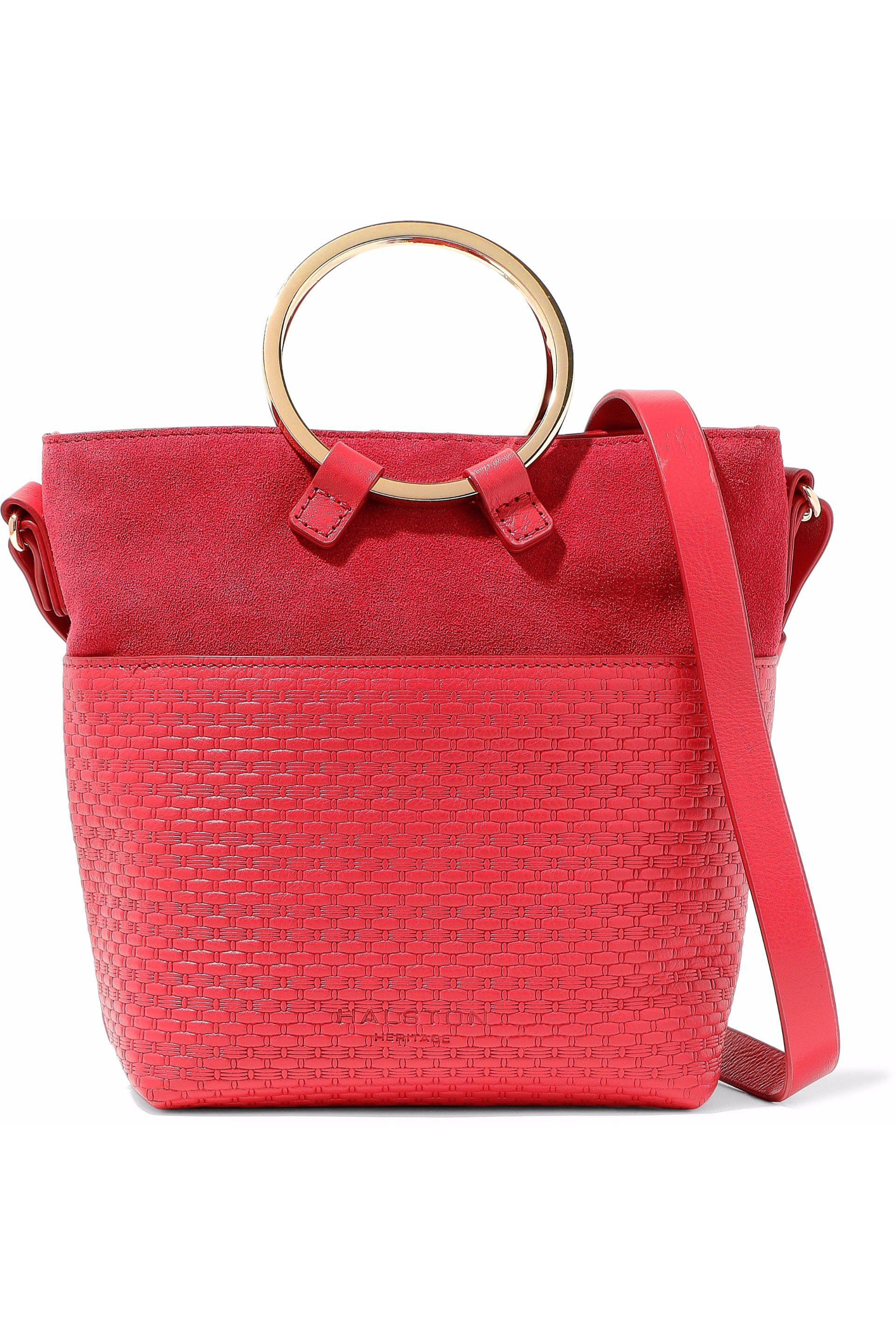 c87aaec8616f Halston Nubuck-paneled Embossed Leather Shoulder Bag in Red - Lyst