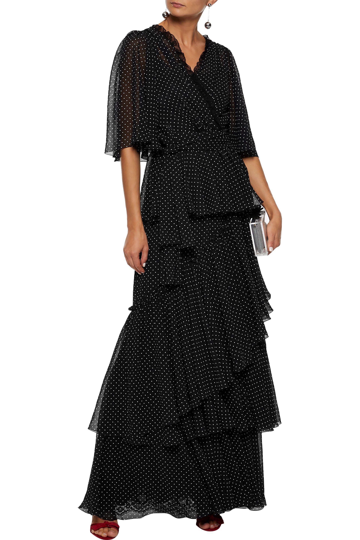 69c8929360140 Dolce & Gabbana - Woman Lace-paneled Tiered Polka-dot Chiffon Maxi Dress  Black. View fullscreen