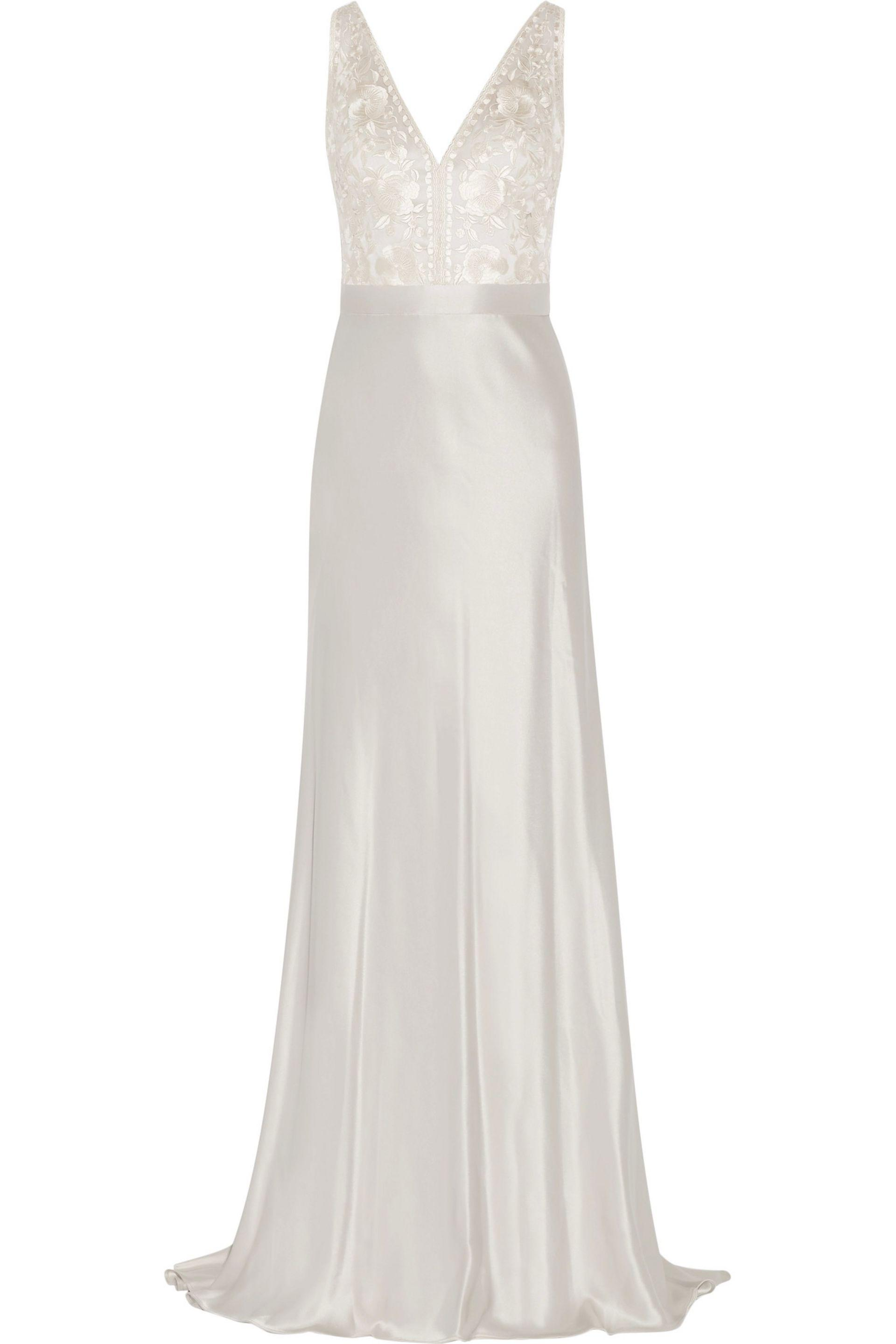Catherine Deane Olivia Embroidered Satin Gown in Metallic - Save ...