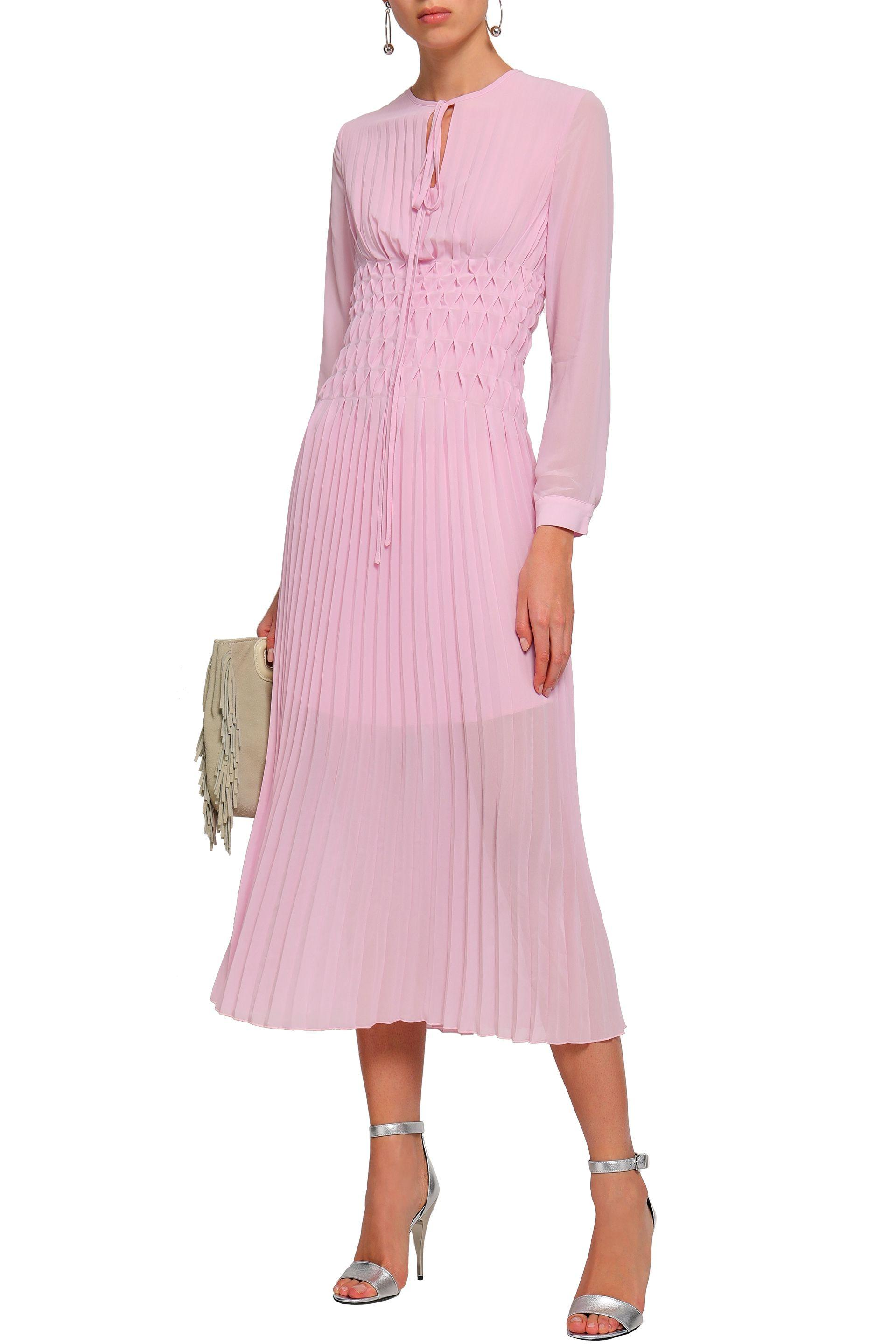 c9e04e04bdf3 Maje Woman Pleated Crepe De Chine Midi Dress Baby Pink in Pink - Lyst