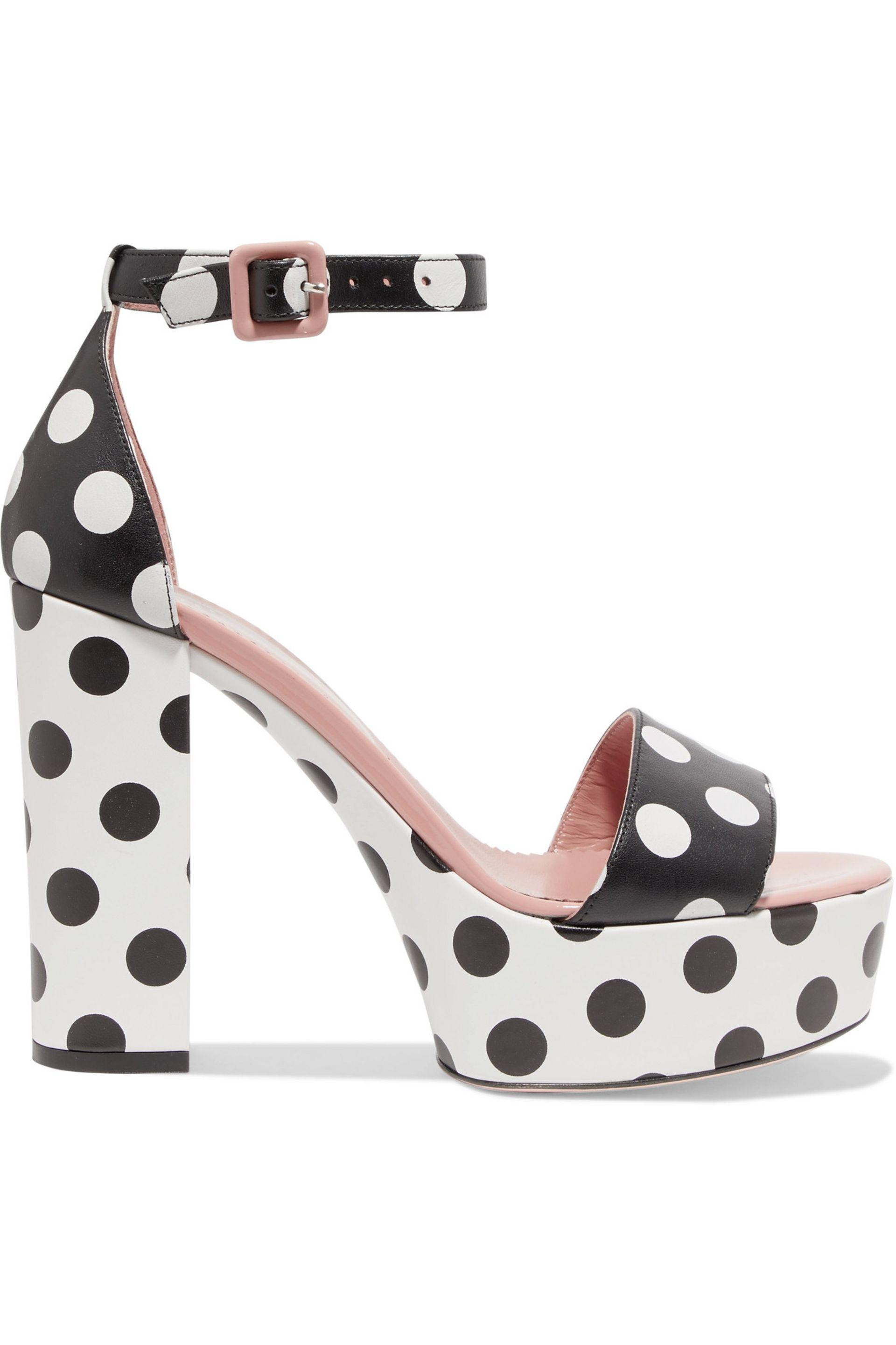 80ca545d26e Red Valentino Polka-dot Leather Platform Sandals in Black - Lyst