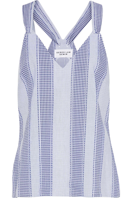 298d139efea0f Derek Lam. Women s Tie-back Striped Fil Coupé Cotton Oxford Top Light Blue