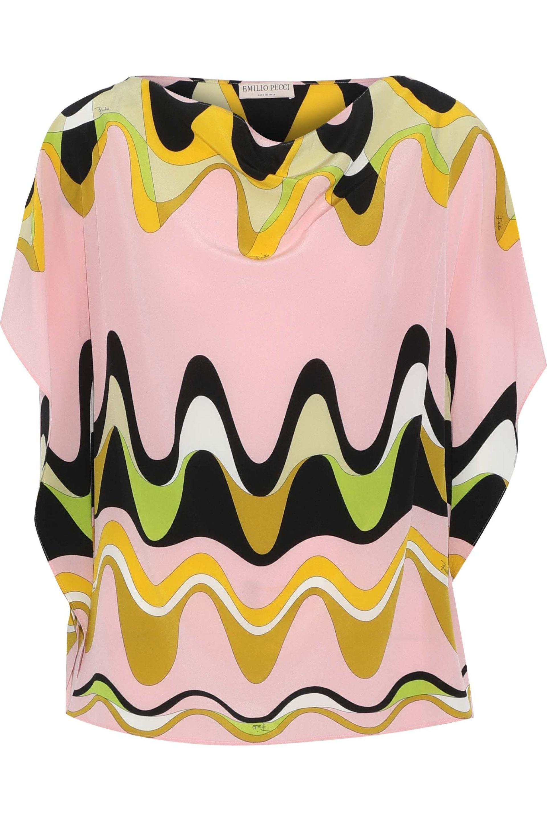 03944dcfb3752e Emilio Pucci - Black One-shoulder Printed Silk Top - Lyst. View fullscreen