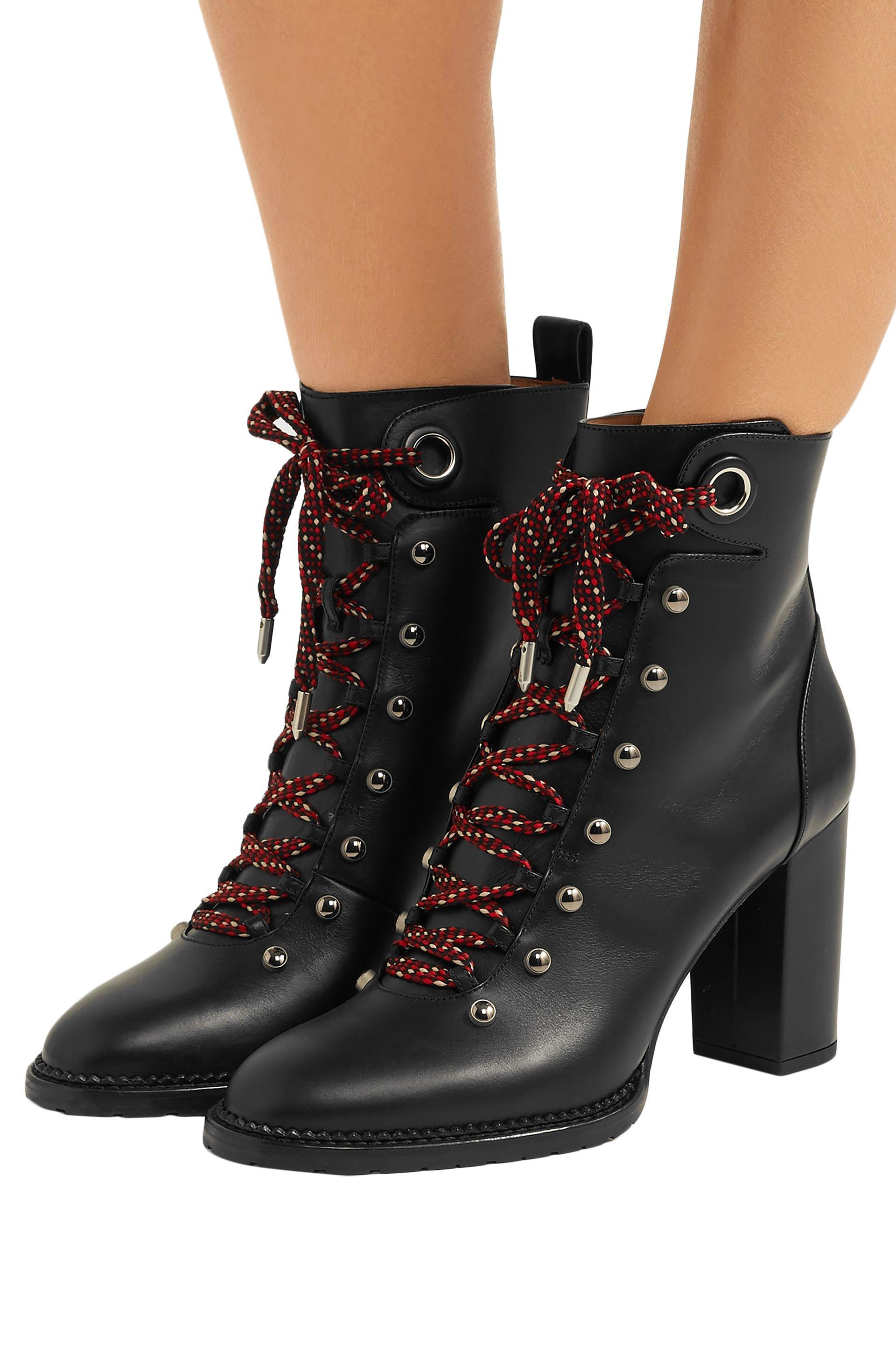 974f437660f4d Aquazzura - Woman Hiker Lace-up Studded Leather Ankle Boots Black - Lyst.  View fullscreen