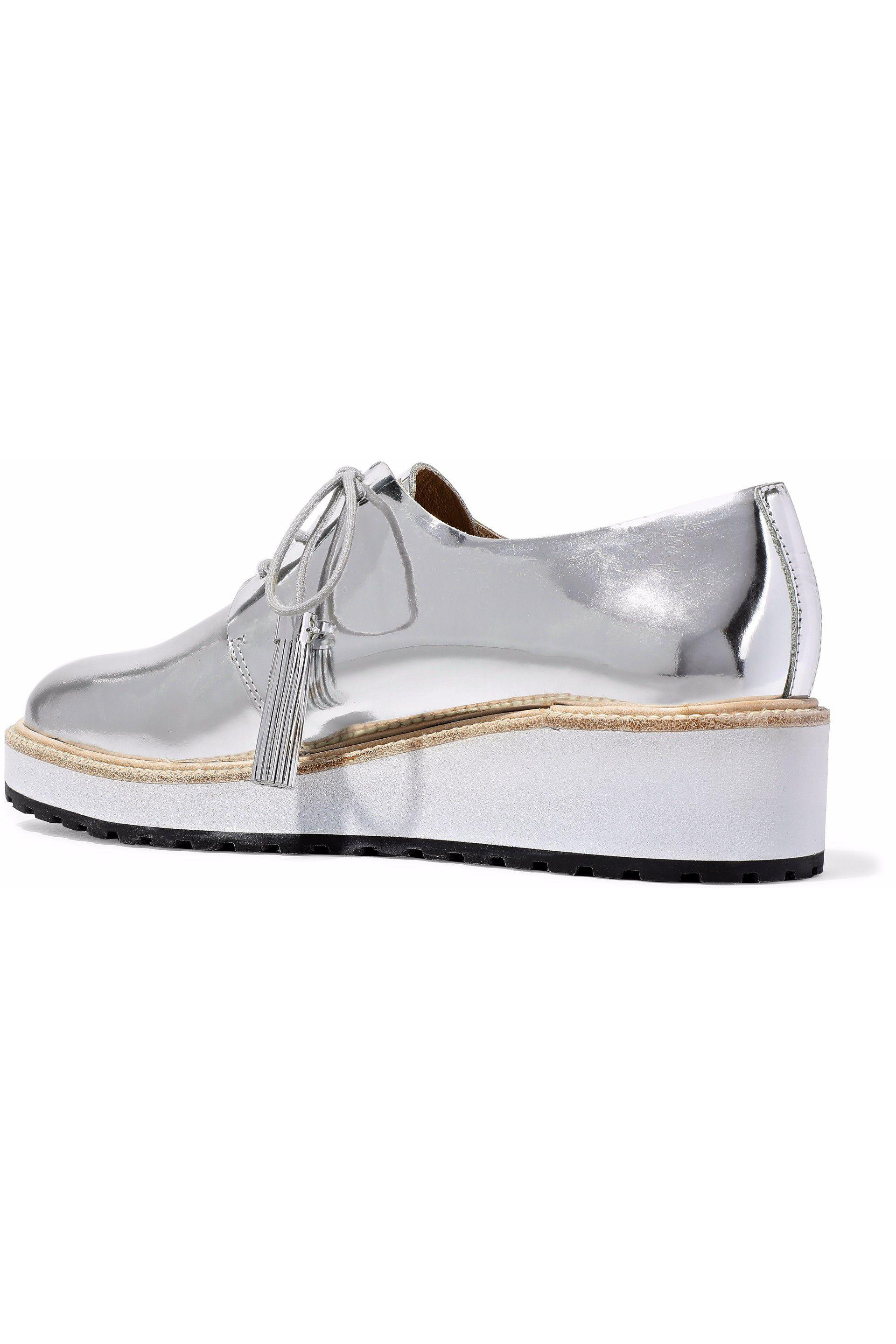 9a84dff259c Loeffler Randall Callie Mirrored-leather Wedge Brogues in Metallic ...