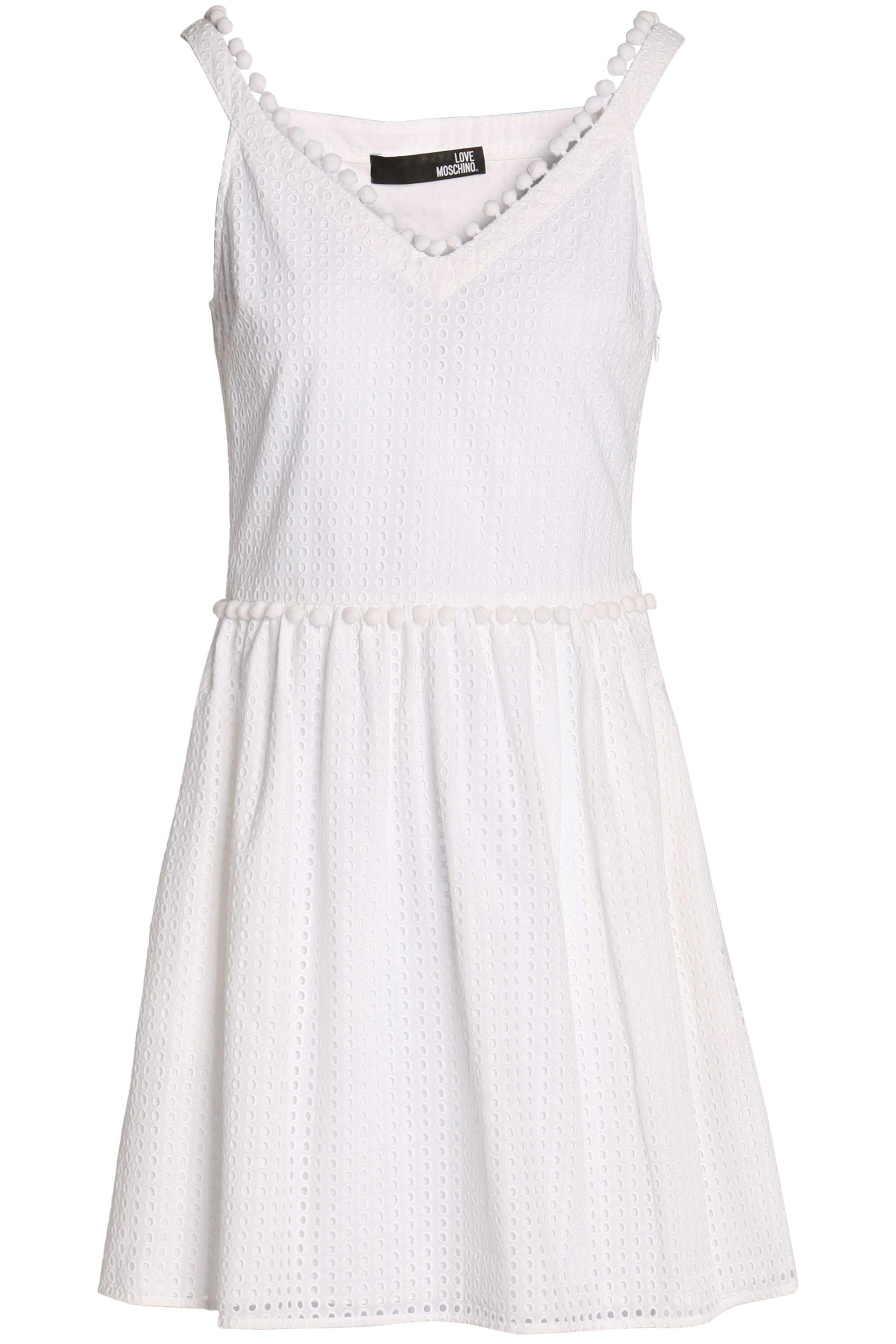 Love Moschino Woman Pompom-embellished Broderie Anglaise Cotton Mini Dress White Size 48 Love Moschino