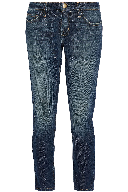 Victoria, Victoria Beckham Woman Faded Mid-rise Slim-leg Pants Dark Denim Size 24 Victoria Beckham