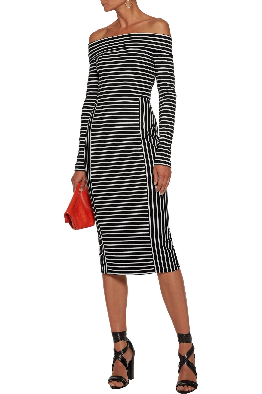 50f56028a48a Lyst - 10 Crosby Derek Lam Off-the-shoulder Striped Ponte Midi Dress ...