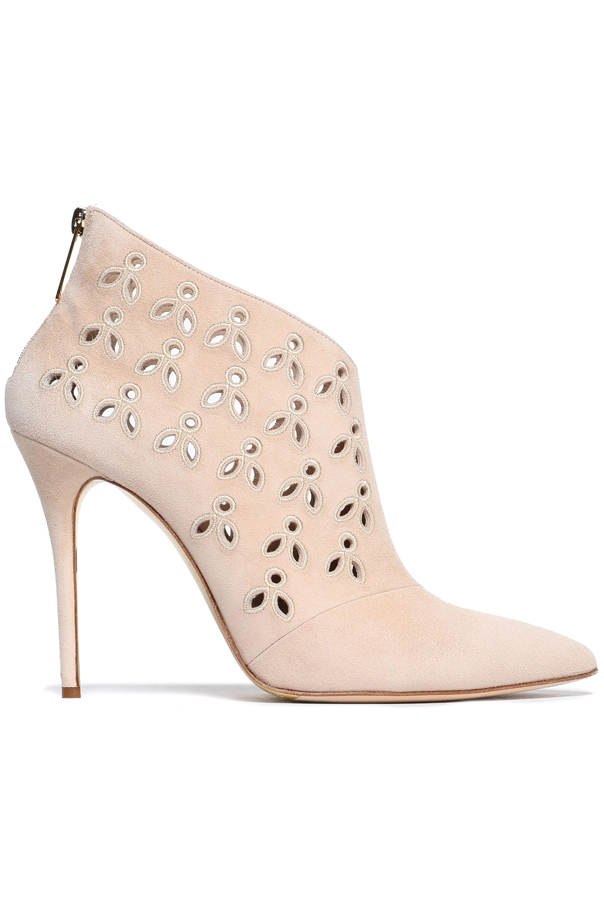 e26c665fd94 Oscar de la Renta Cutout Embroidered Suede Ankle Boots in Natural - Lyst