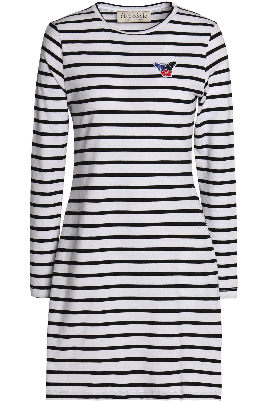 Être Cécile Woman Appliquéd Striped Cotton-poplin Shirt Light Blue Size M être cécile New Arrival Fashion nreGXq57j