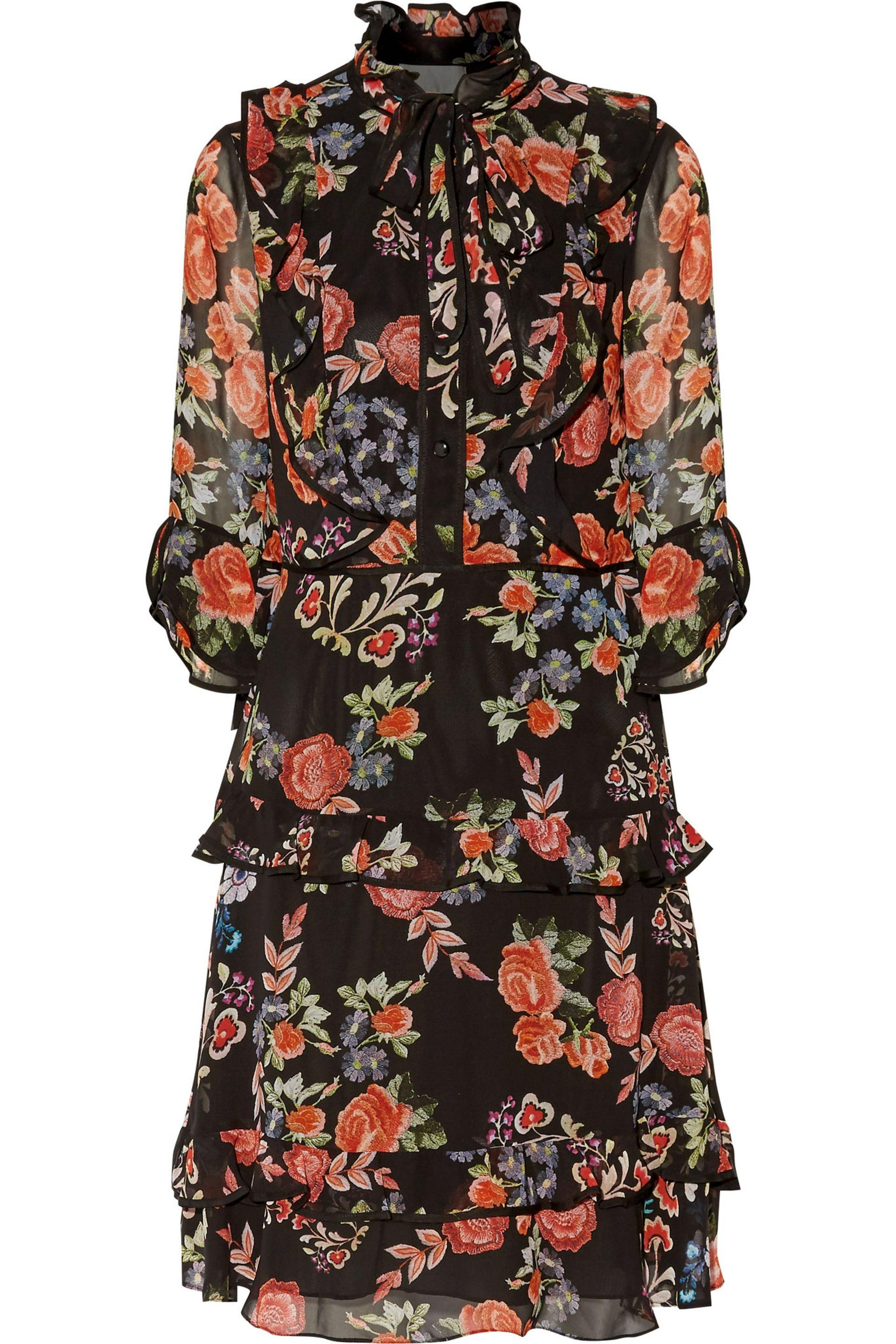 Mikael Aghal. Women's Black Ruffled Floral Print Chiffin Dress