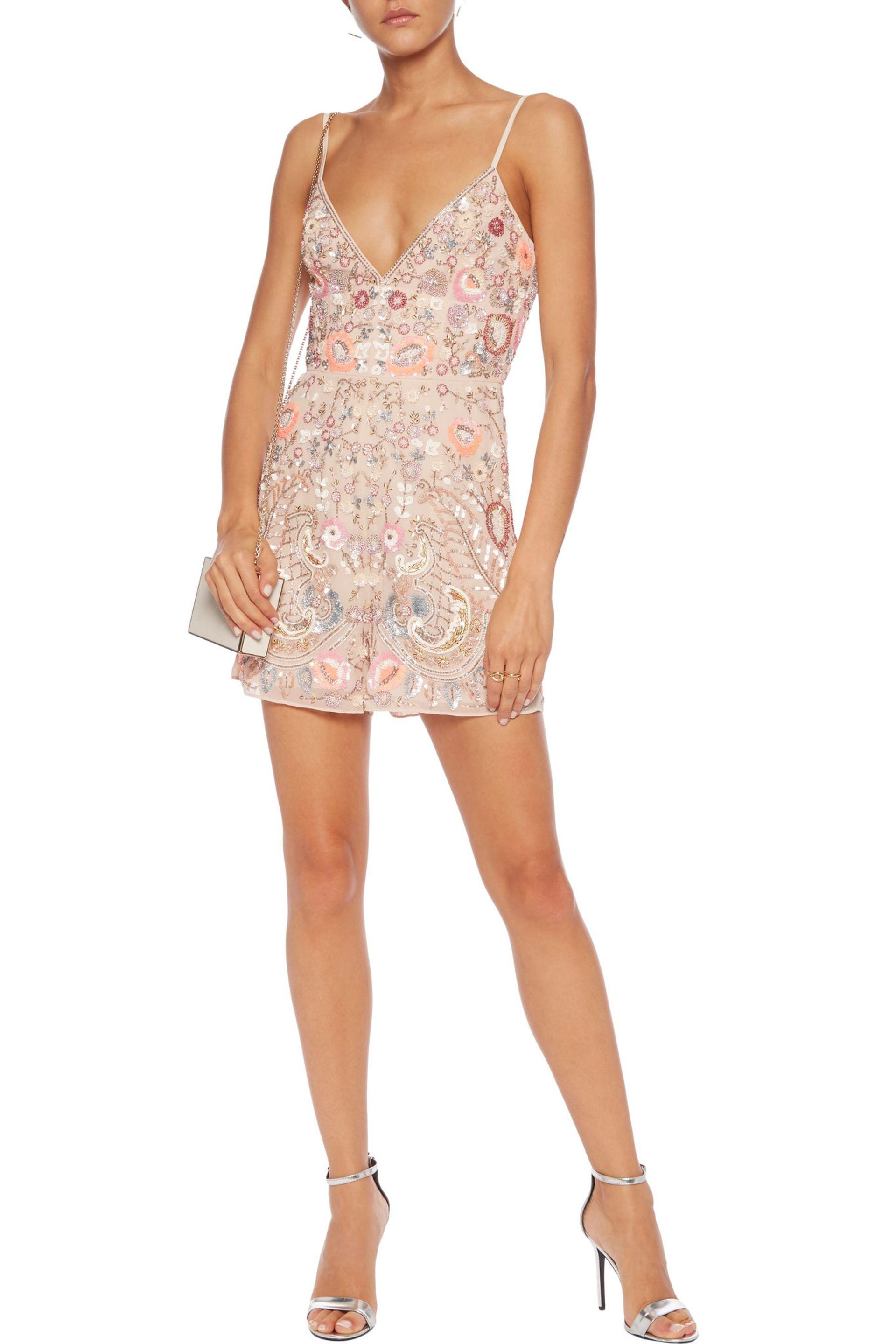 1e8008b718 Needle   Thread Iridescent Cinder Crepe Playsuit in Pink - Lyst