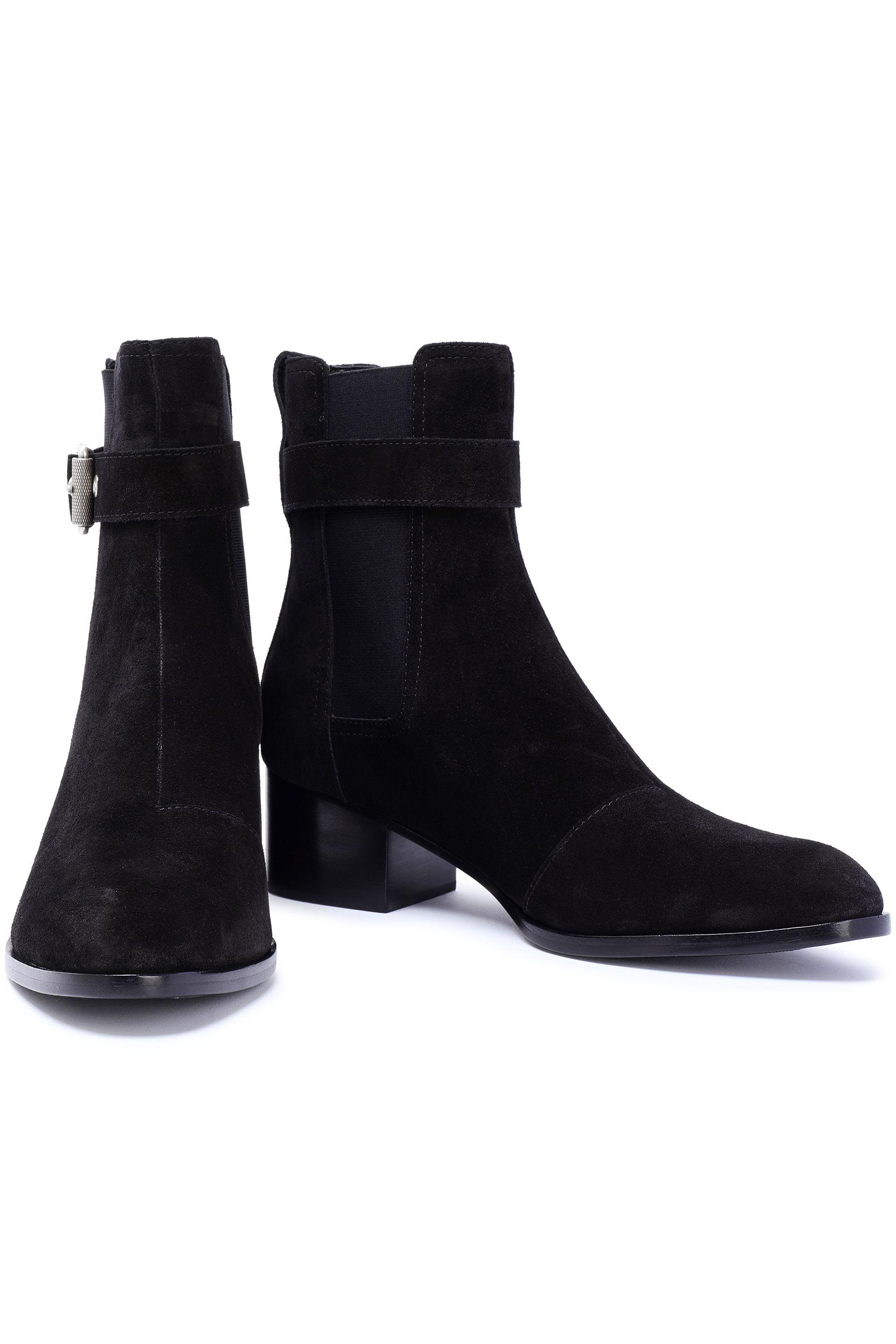 df68c8e9c0a15 Lyst - Rag & Bone Woman Wilson Buckled Suede Ankle Boots Black in Black