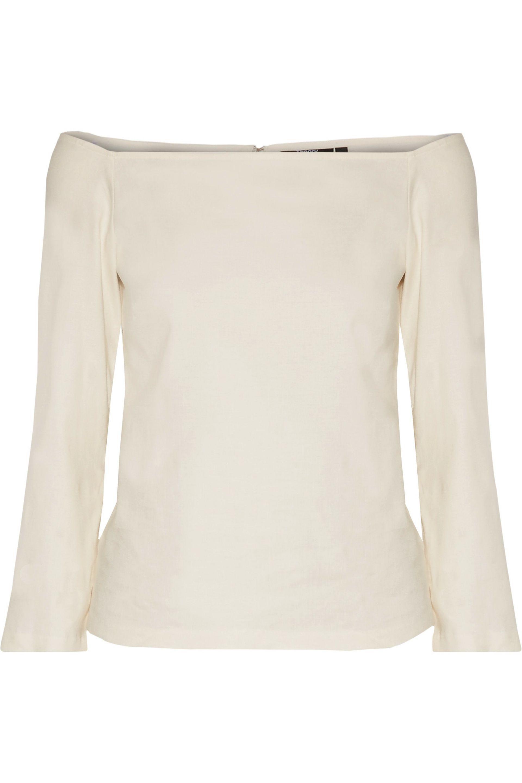 332d61de0cb Theory Aprine Off-the-shoulder Linen-blend Top - Lyst