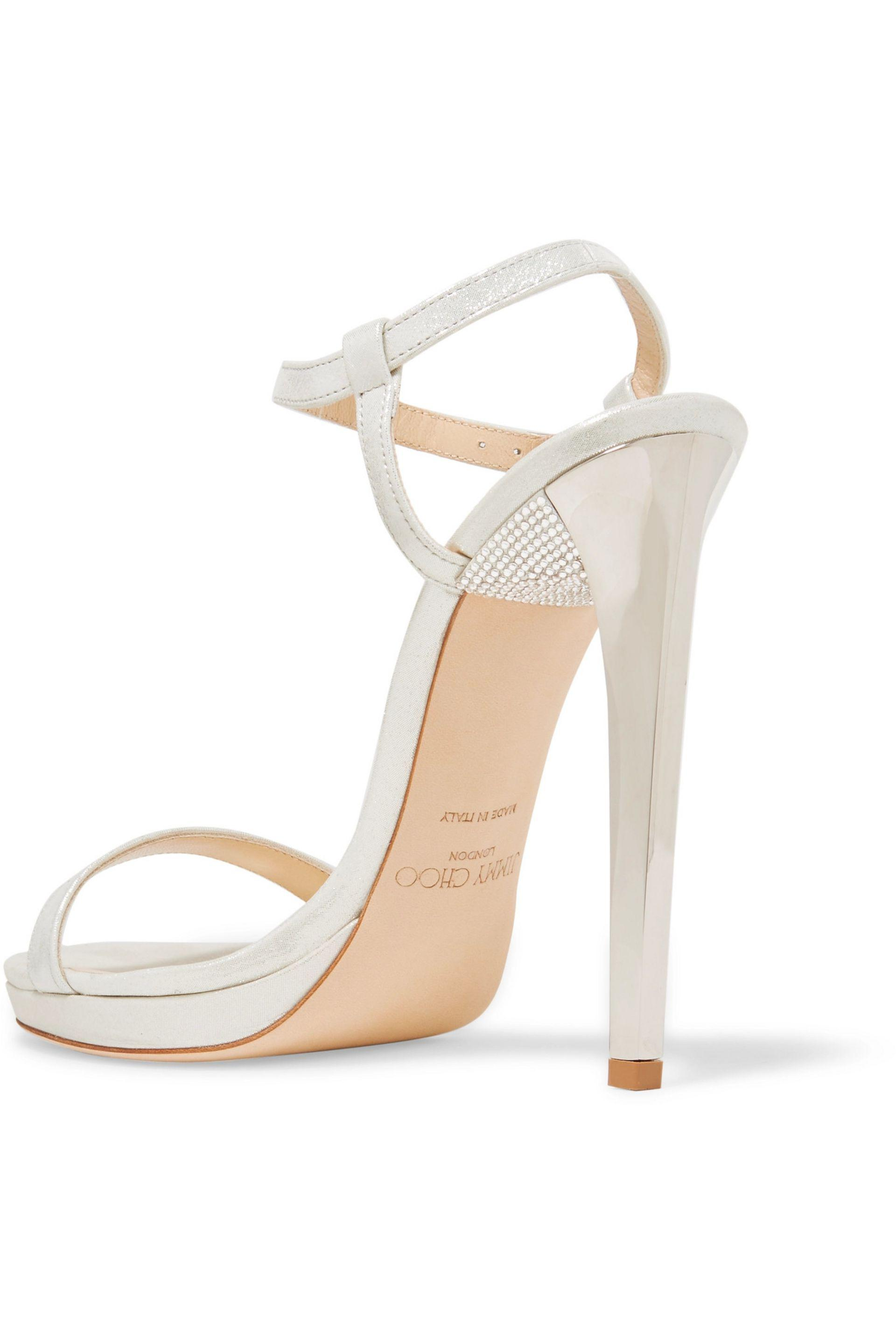 Jimmy Choo | Metallic Claudette Embellished Leather Sandals | Lyst. View  Fullscreen
