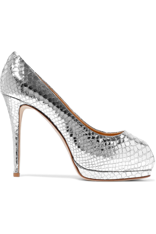 c7bcd5d62ae Giuseppe Zanotti. Women s Metallic Woman Sharon Snake-effect Mirrored-leather  Platform Pumps Silver