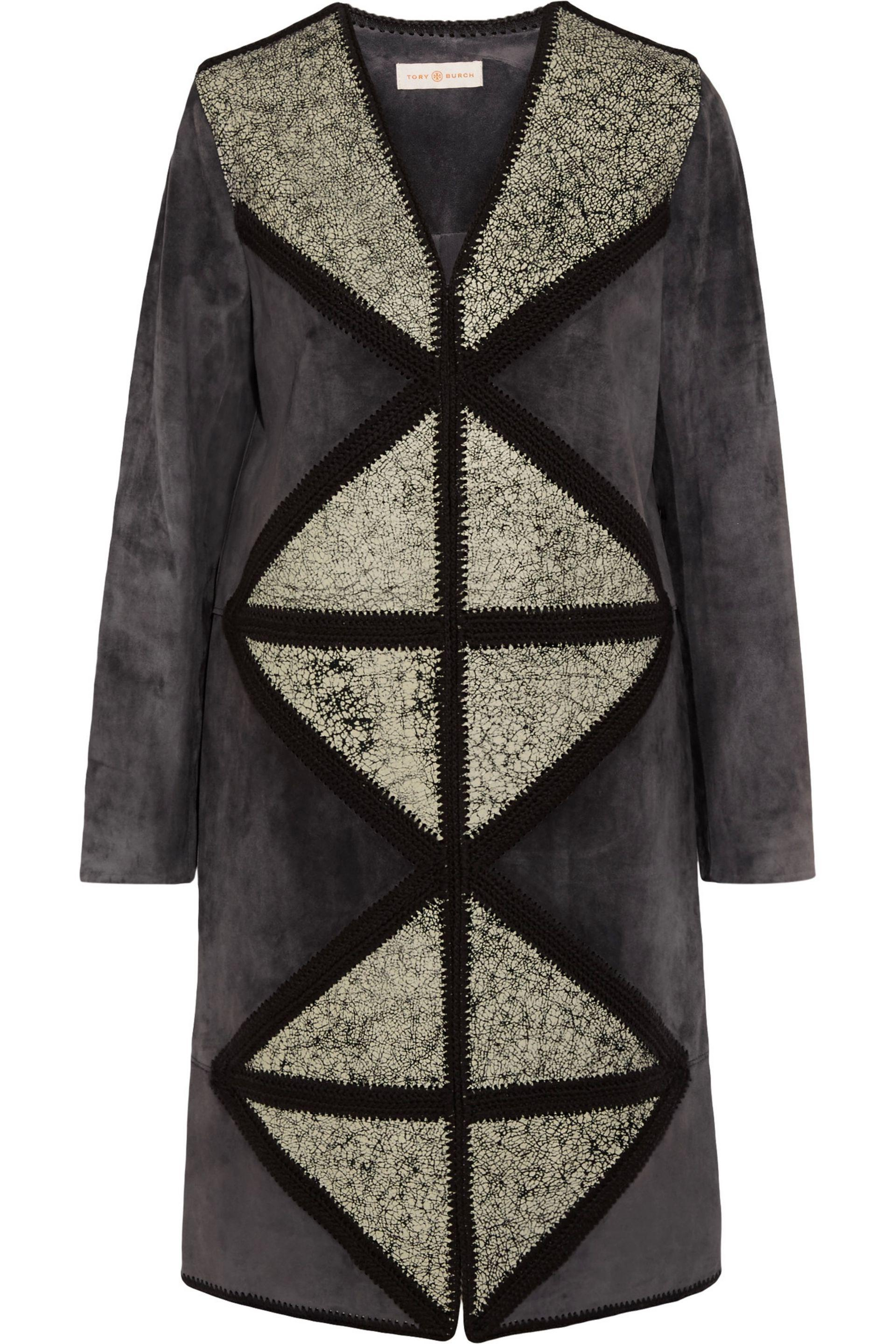 Tory Burch. Women's Cracked Leather-paneled Suede Coat