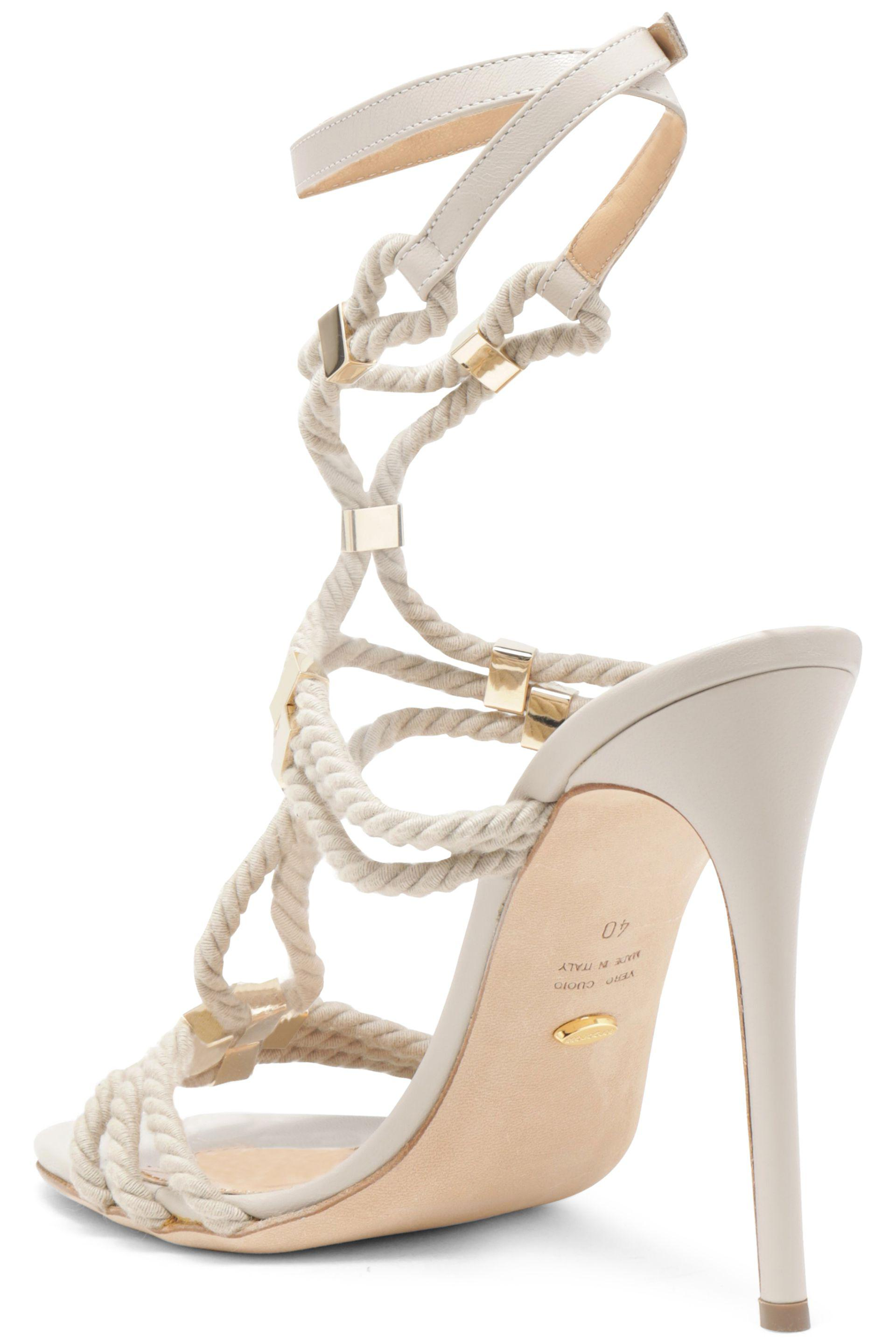 3f40e9f8f Sergio Rossi Embellished Rope Sandals in Natural - Lyst