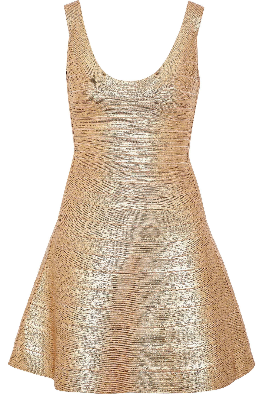 3d3e09f5b99 Hervé Léger Hervé Léger Woman Eva Metallic Bandage Mini Dress Gold ...