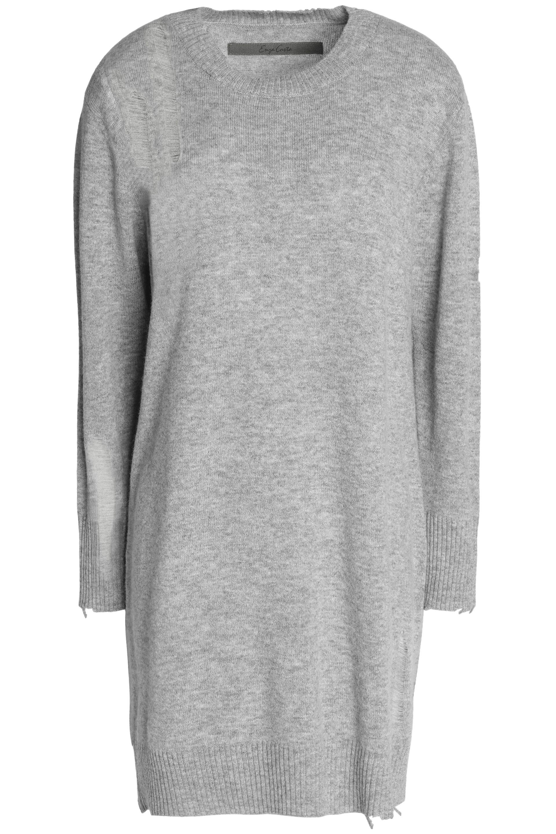 With Credit Card For Sale Enza Costa Woman Distressed Mélange Wool And Cashmere-blend Sweater Dark Gray Size M Enza Costa Quality Free Shipping Outlet Supply DFwYP