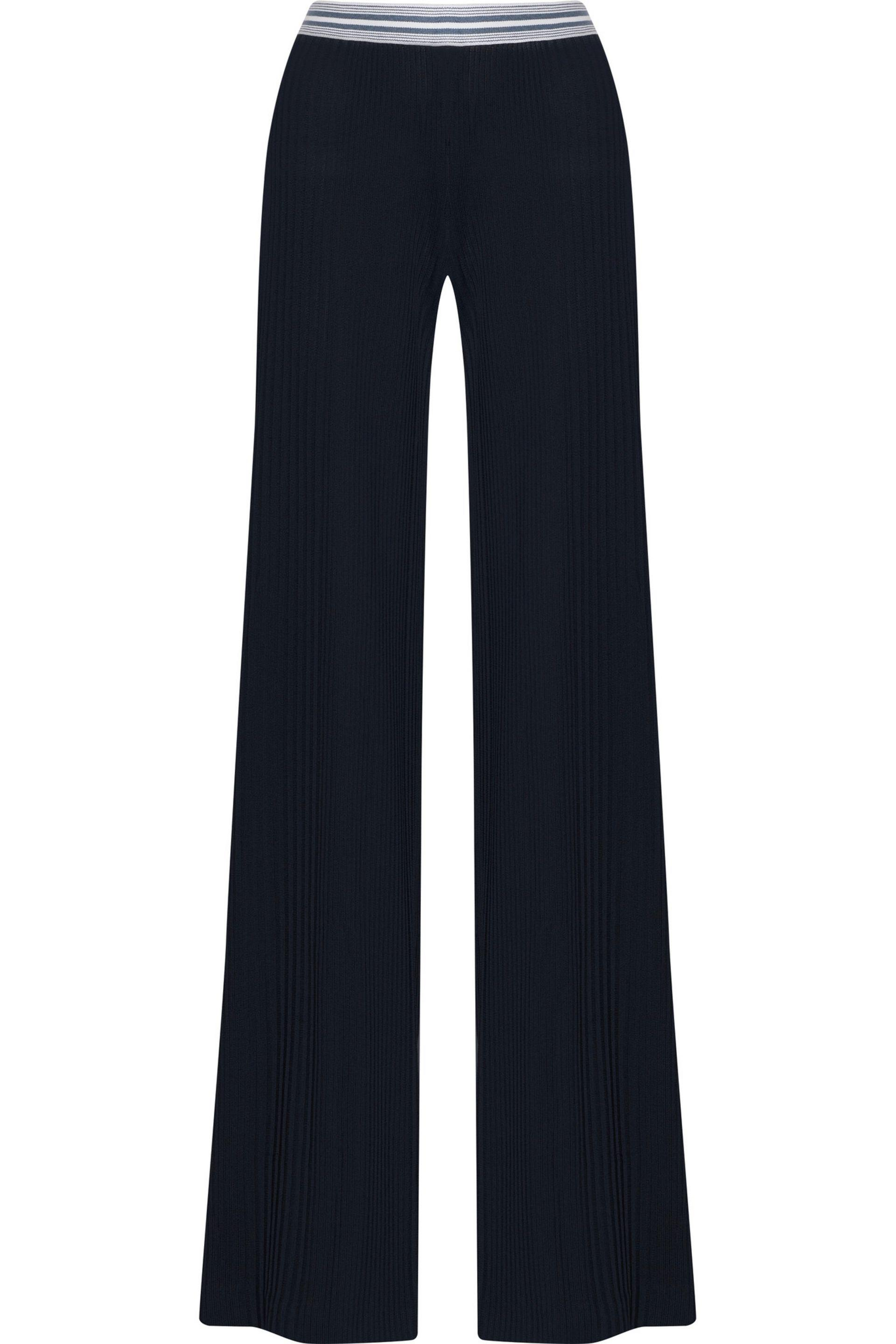 7a780d1a Balmain Ribbed-knit Wide-leg Pants in Blue - Lyst
