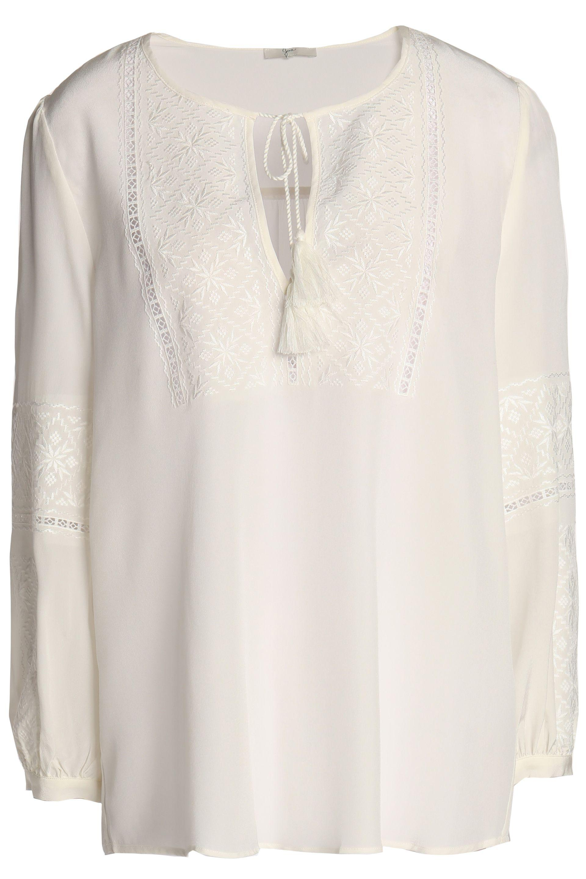 Joie Woman Tasseled Embroidered Silk Crepe De Chine Blouse White Size L Joie Free Shipping Marketable dnr2w