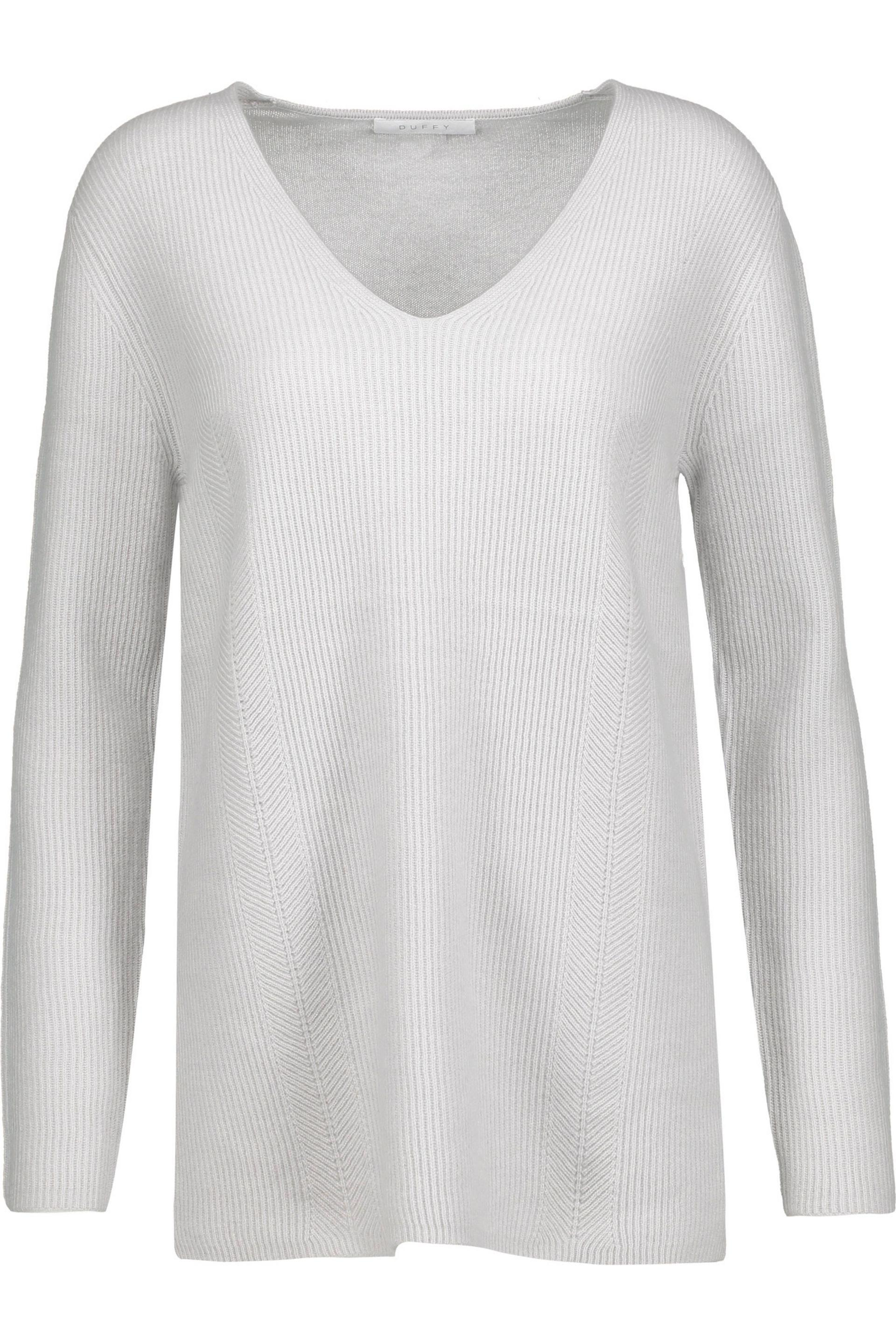 Duffy Ribbed Cashmere Sweater in White | Lyst