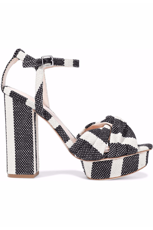 470db75aa945a Loeffler Randall. Women s Woman Arbella Twisted Striped Canvas Platform  Sandals Black