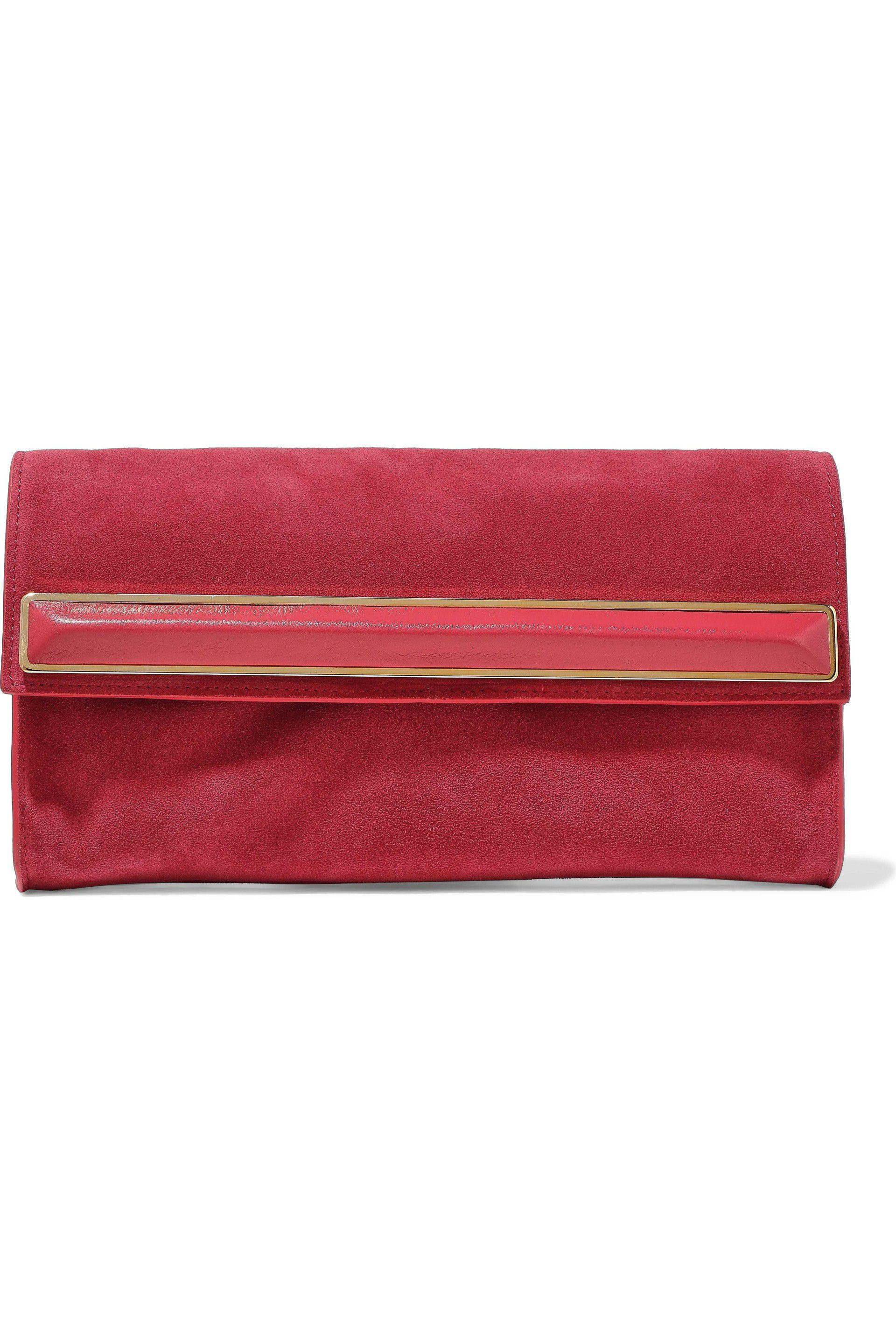 1bf4a86470 Lyst - Halston Leather-trimmed Embellished Suede Clutch in Red