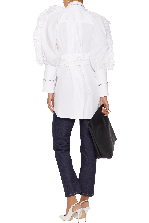 Ellery Woman Ruffle-trimmed Striped Fil Coupé Cotton Shirt Light Blue Size 10 Ellery Cheap Sale Inexpensive Supply Online OlFT7M