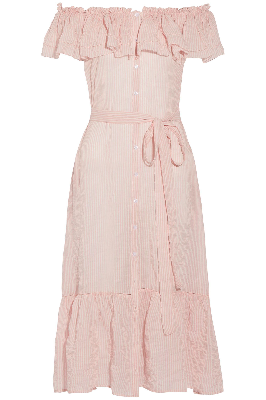 960c09afe1 Lisa Marie Fernandez. Women's Woman Mira Off-the-shoulder Striped Cotton-voile  Midi Dress Pink