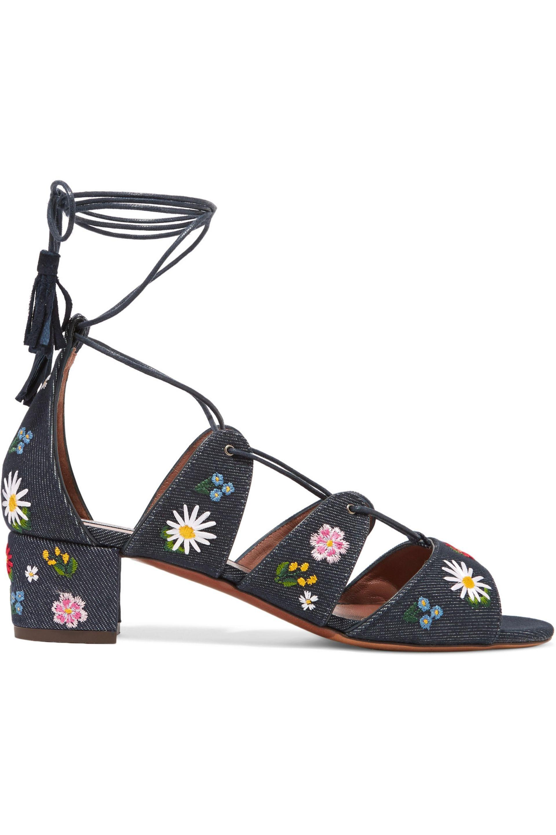 embroidered denim sandals - Blue Tabitha Simmons